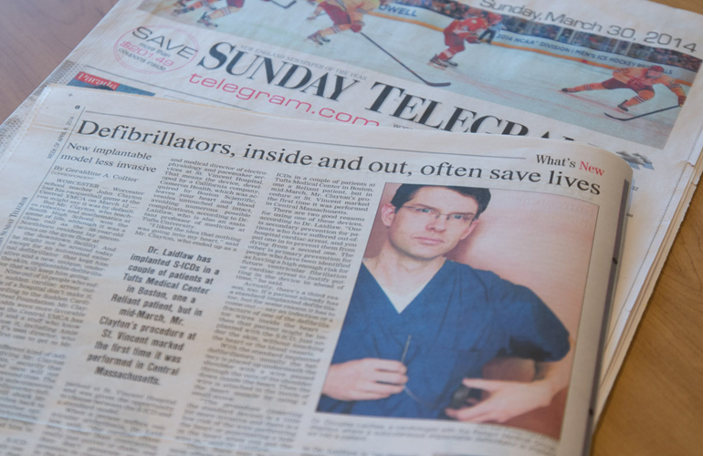 Dr. Laidlaw from Cardiology Featured in the Telegram & Gazette