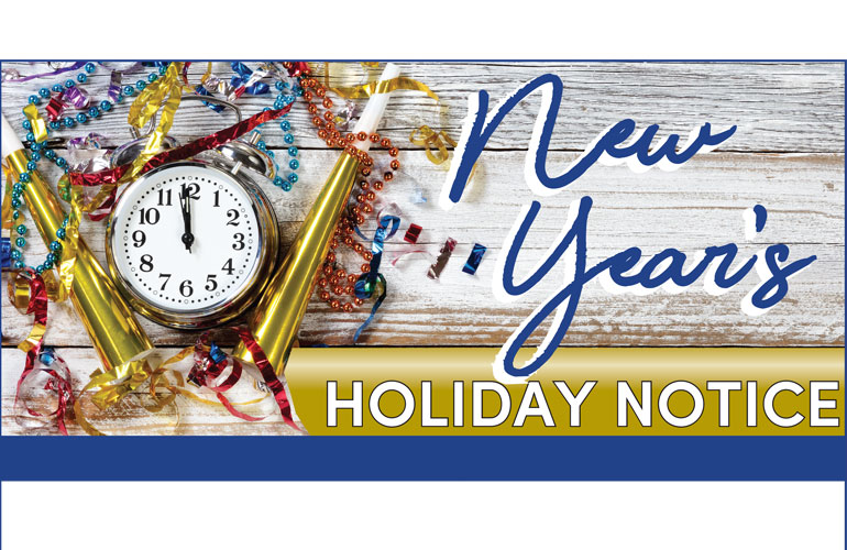 New Year Holiday Notice 2018