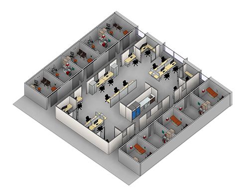 An architectural rendering showing the inside of the new building.