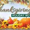 Thanksgiving Holiday Notice – 2019