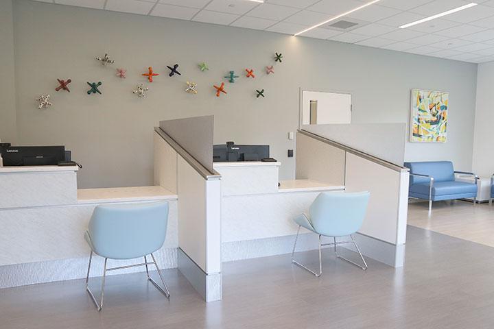 Registration desk at the Holden pediatrics waiting room