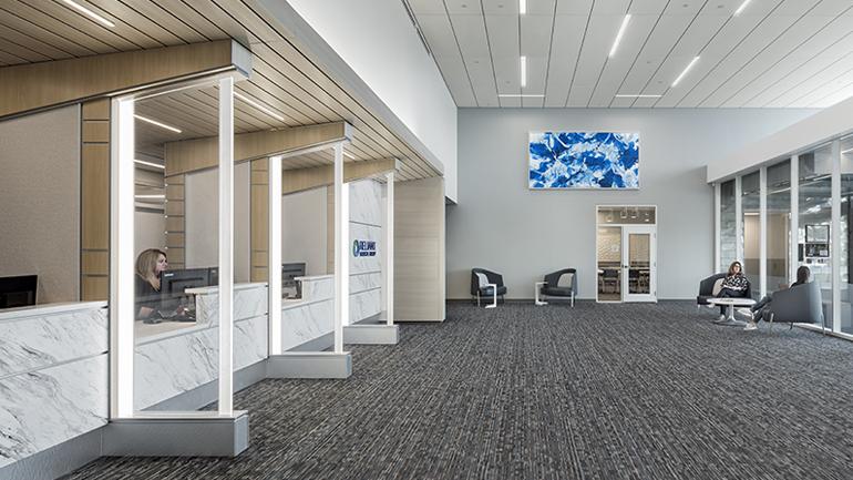 Lobby with multiple registration desks