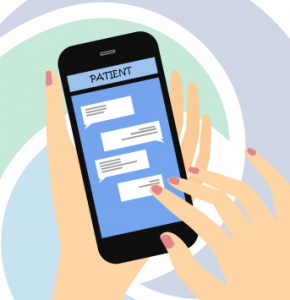 Illustration of hands texting on a cell phone