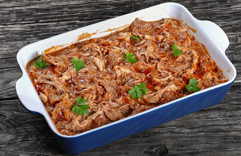 Pulled chicken in a pan