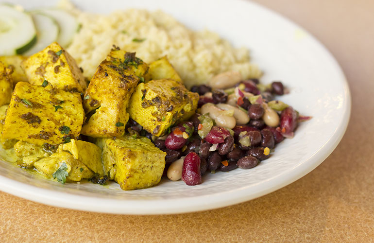 Paneer curry tofu with herbed quinoa and bean salad