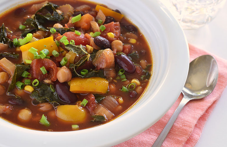 Bowl of healthy vegetable chili in horizontal format