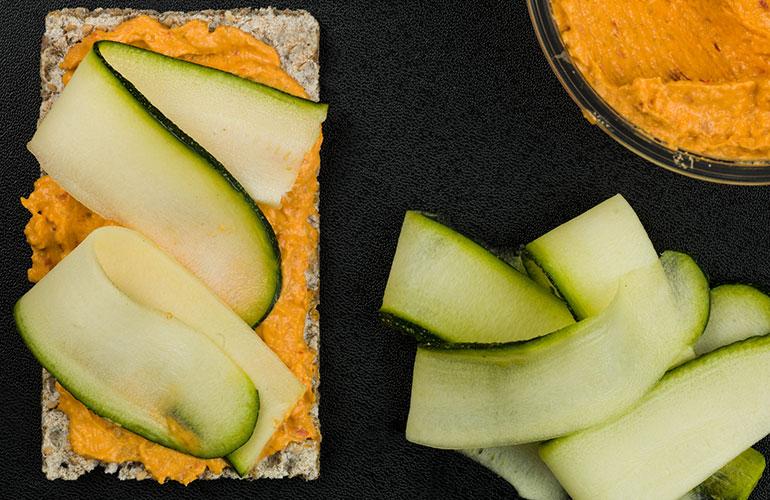 Vegetarian Spicy Hummus with Courgette on Rye Crispbread